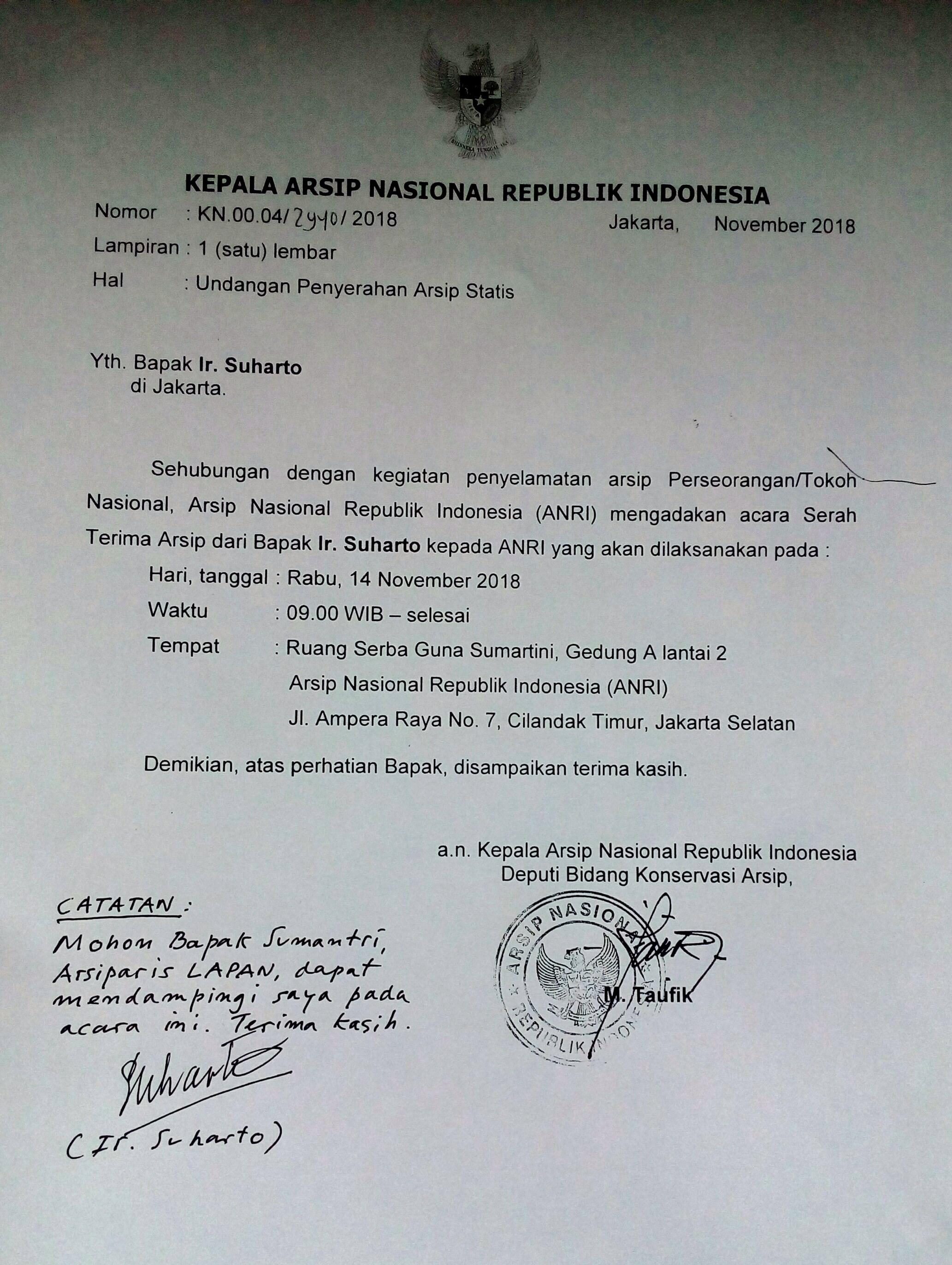 Sa 41a Penyerahan Arsip Pribadi Ir Suharto Perancang Pesawat